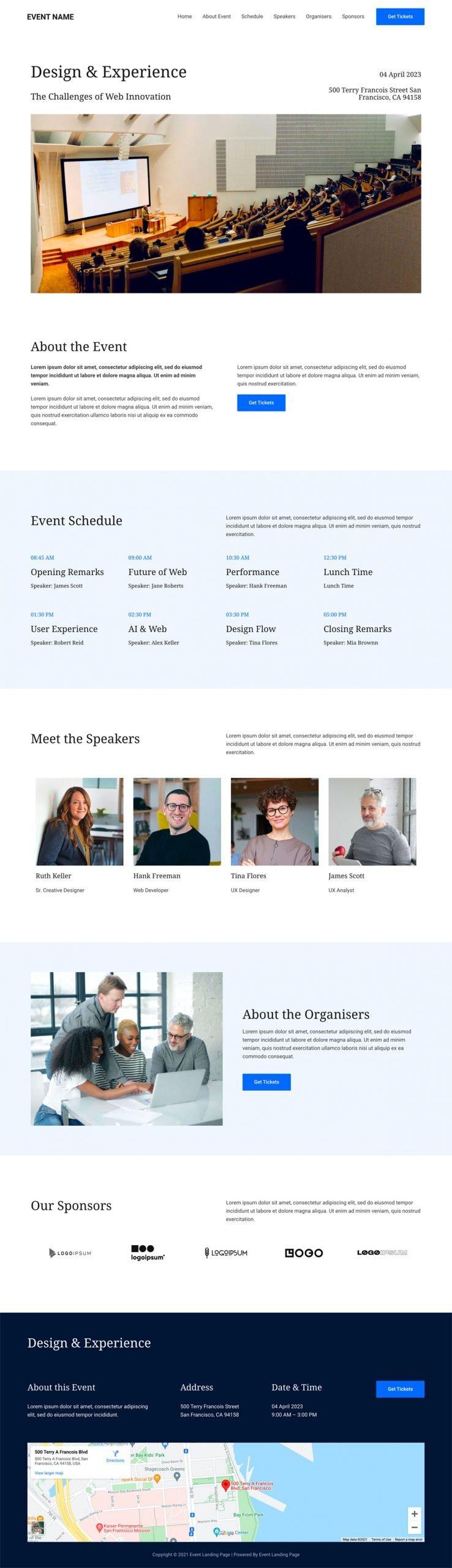 Event website design example