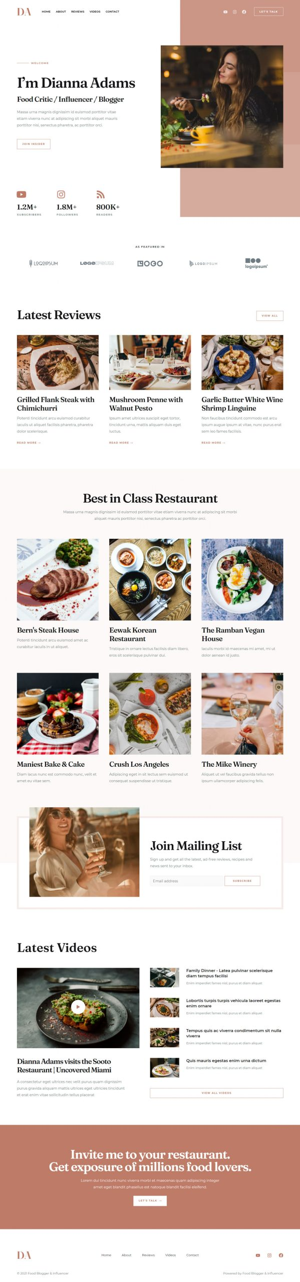 Adamo Web Design | Web Design Durham | food blogger 02 home scaled
