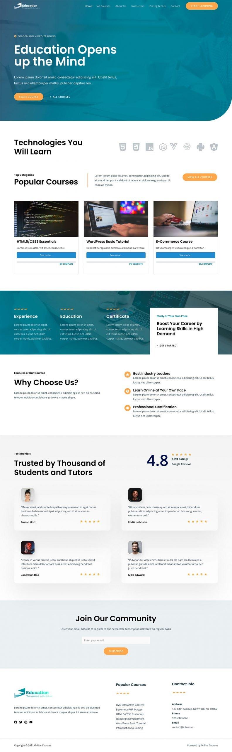 Adamo Web Design | Web Design Durham | online courses 02 home scaled