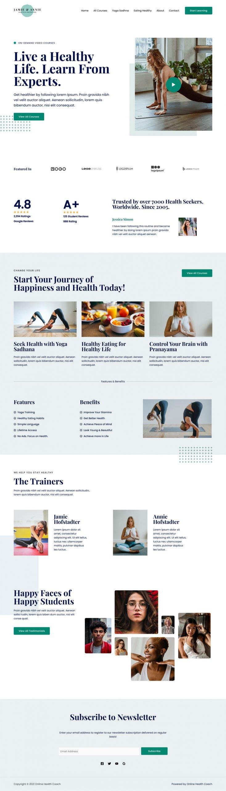 Adamo Web Design | Web Design Durham | online health coach 02 home scaled