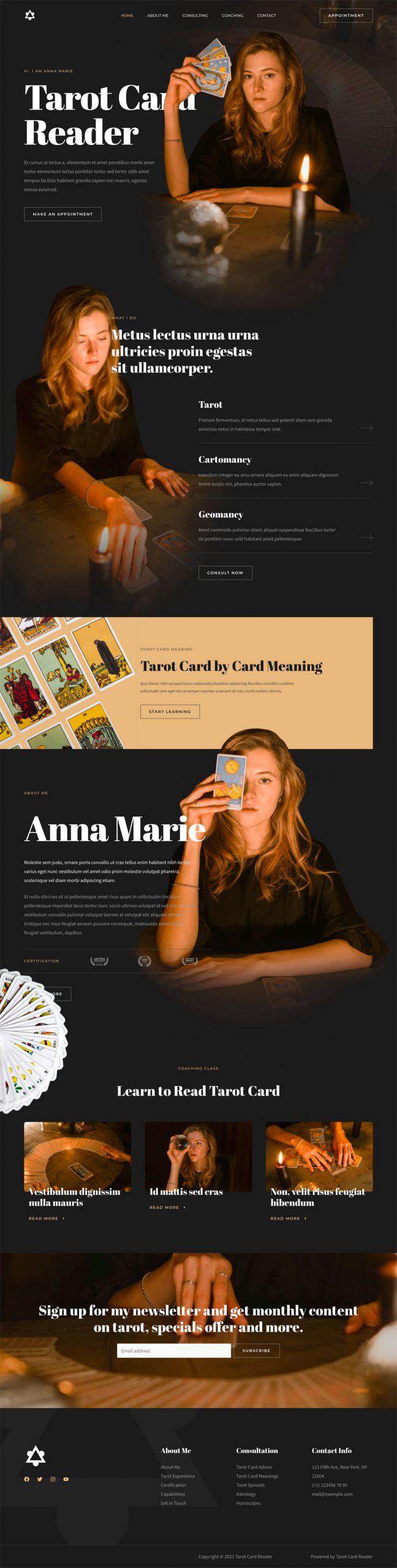 Adamo Web Design | Web Design Durham | tarot card reader 04 home scaled