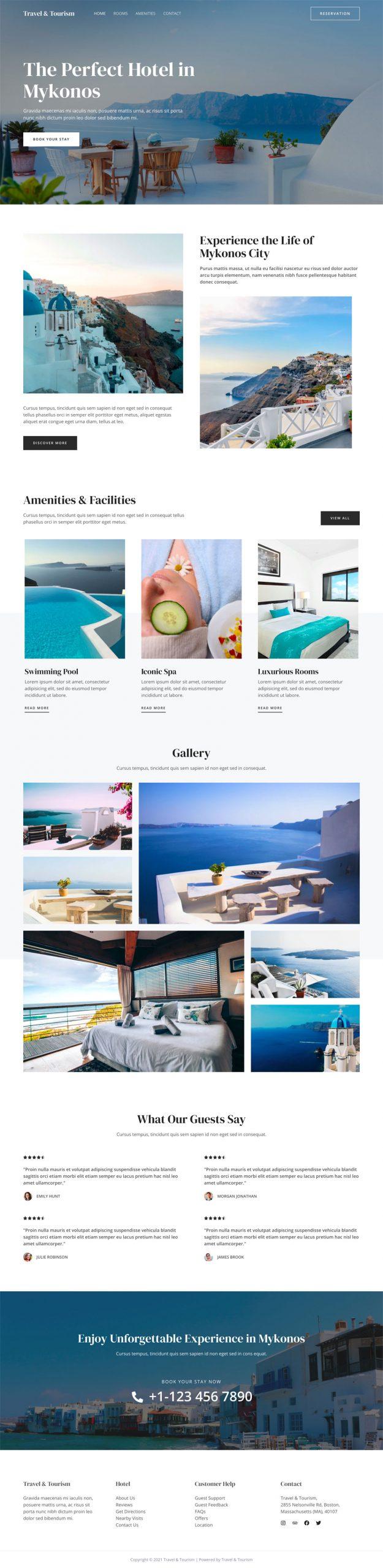 Travel website design example