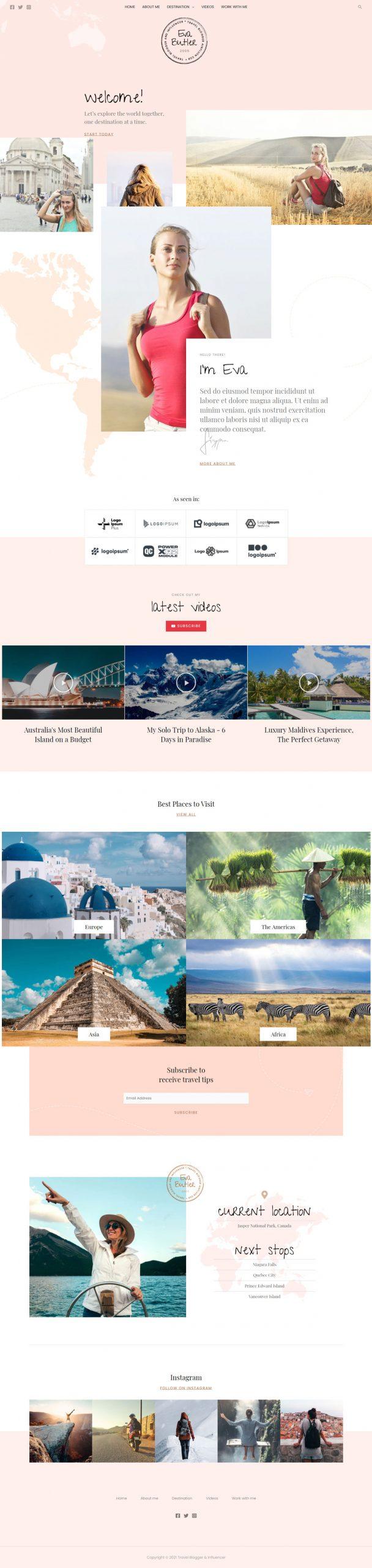 Adamo Web Design | Web Design Durham | travel blogger 02 home scaled